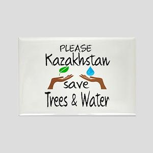 Please Kazakhstan Save Trees & Wa Rectangle Magnet