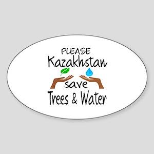 Please Kazakhstan Save Trees & Wate Sticker (Oval)
