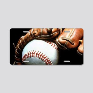 Baseball Ball And Mitt Aluminum License Plate