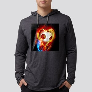 Flaming Football Bal Long Sleeve T-Shirt