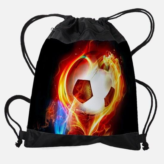 Flaming Football Ball Drawstring Bag