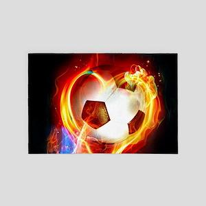 Flaming Football Ball 4' x 6' Rug