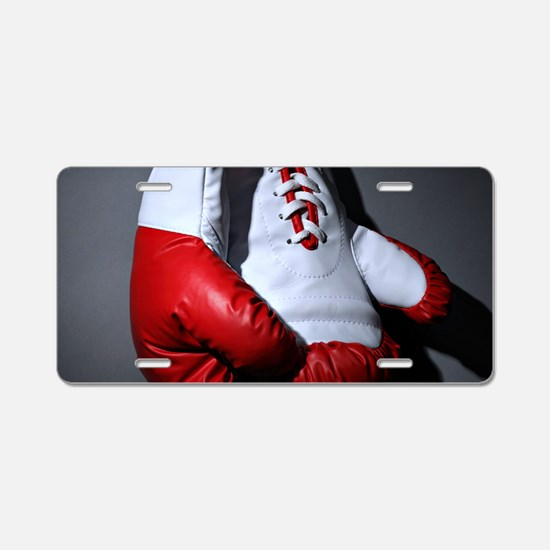 Boxing Gloves Aluminum License Plate