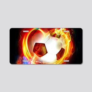 Flaming Football Ball Aluminum License Plate