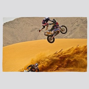 Motocross Riders Riding Sand Dunes 4' x 6' Rug