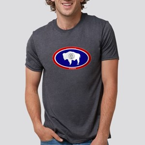 Wyoming State flag oval White T-Shirt