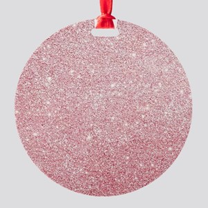 Rose-gold faux glitter Round Ornament