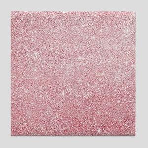 Rose-gold faux glitter Tile Coaster