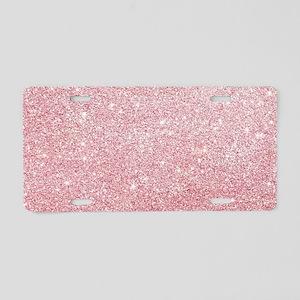 Rose-gold faux glitter Aluminum License Plate