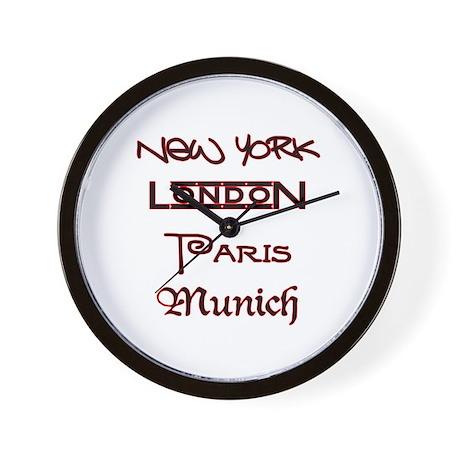 NEW YORK, LONDON, PARIS, MUNICH! Wall Clock