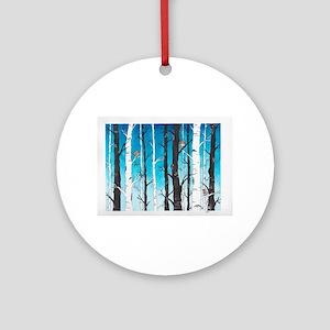 Watercolor Birch Trees Round Ornament