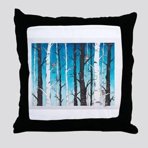 Watercolor Birch Trees Throw Pillow