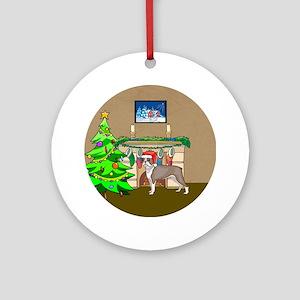 A Boston Terrier Christmas Ornament (Round)