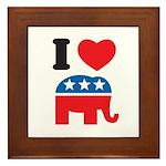 I Heart Republicans Framed Tile