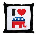 I Heart Republicans Throw Pillow