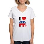 I Heart Republicans Women's V-Neck T-Shirt