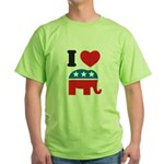 I Heart Republicans Green T-Shirt