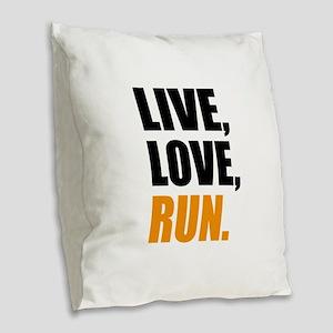 run Burlap Throw Pillow