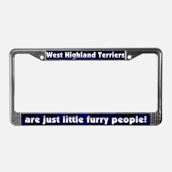 Furry People Westie License Plate Frame