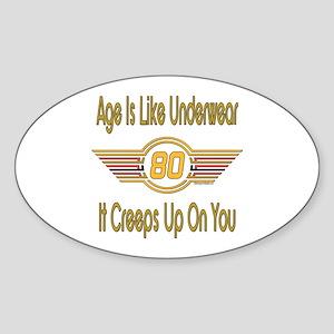 Funny 80th Birthday Oval Sticker