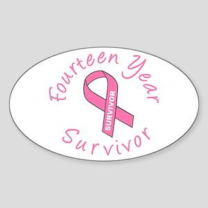 Fourteen Year Survivor Oval Sticker