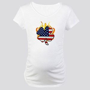 Irish Firefighter Shamrocks Maternity T-Shirt