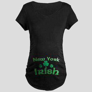 New York Irish Shamrocks Maternity Dark T-Shirt