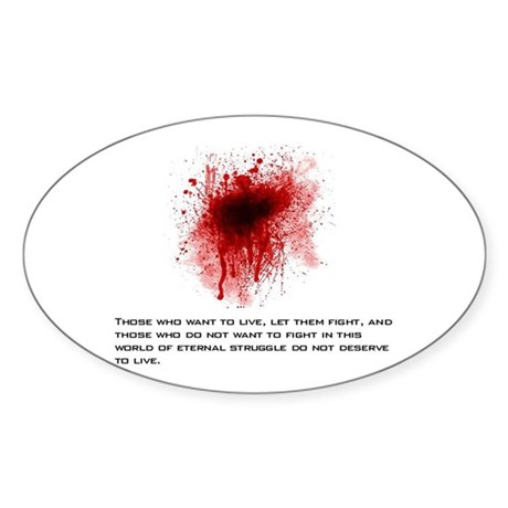Fight For Life Quote Oval Sticker