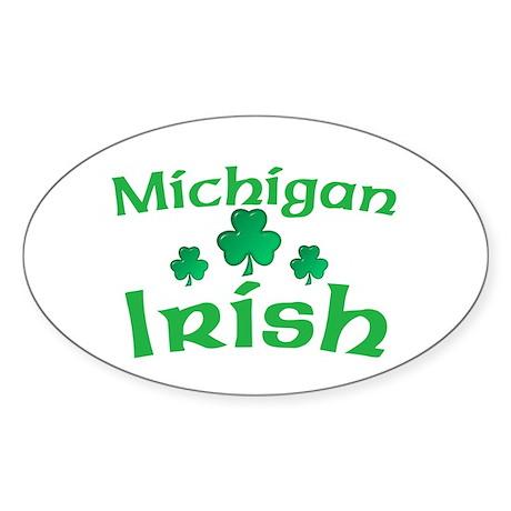 Michigan Irish Shamrocks Oval Sticker