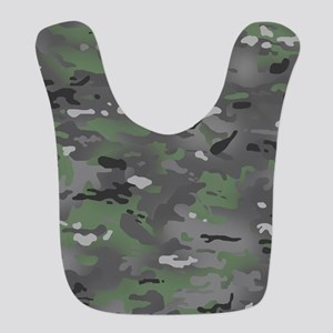 Camouflage: Arctic Green and Gr Polyester Baby Bib
