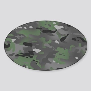 Camouflage: Arctic Green and Grey Sticker (Oval)
