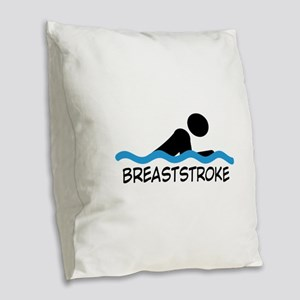 breaststroke Burlap Throw Pillow