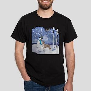 Snowman & Boston Terrier Holiday Dark T-Shirt