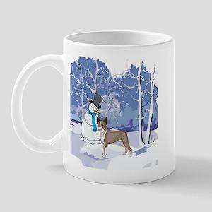 Snowman & Boston Terrier Holiday Mug
