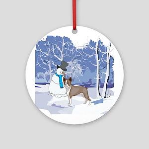Snowman & Boston Terrier Holiday Ornament (Round)