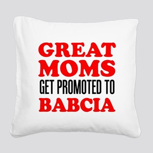 Promoted To Babcia Square Canvas Pillow