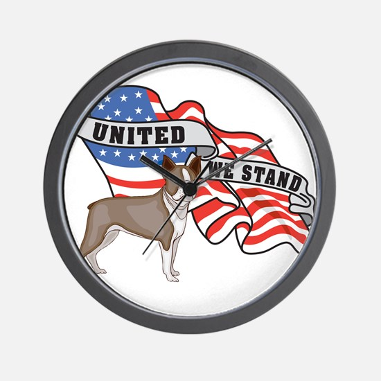 United We Stand Boston Terrier Wall Clock