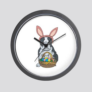 Boston Terrier Easter Bunny Wall Clock
