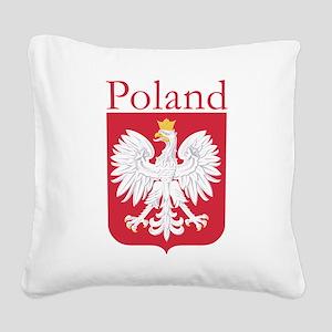 Poland White Eagle Square Canvas Pillow