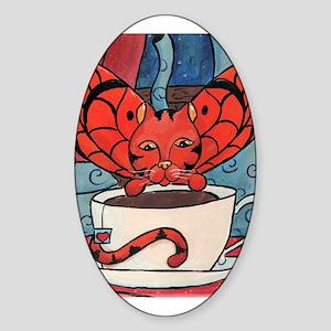 Fairy Cat with Tea Cup Oval Sticker