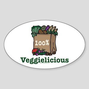 Veggielicious Vegetarian Vegan Oval Sticker