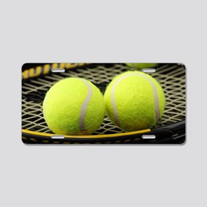 Tennis Balls And Racket Aluminum License Plate