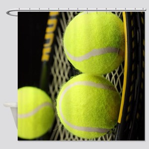 Tennis Balls And Racket Shower Curtain