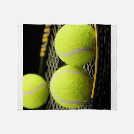 Tennis Balls And Racket Throw Blanket