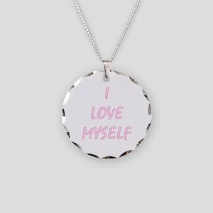 I Love Myself - Portrait Necklace Circle Charm
