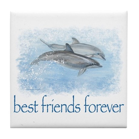 best friends forever dolphins Tile Coaster