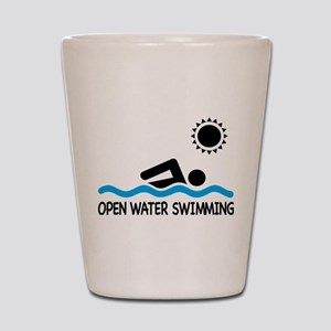 open water swimming Shot Glass