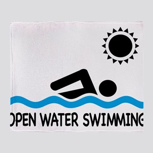 open water swimming Throw Blanket