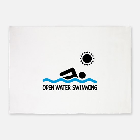 open water swimming 5'x7'Area Rug