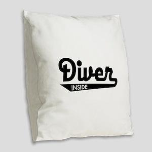 diver Burlap Throw Pillow